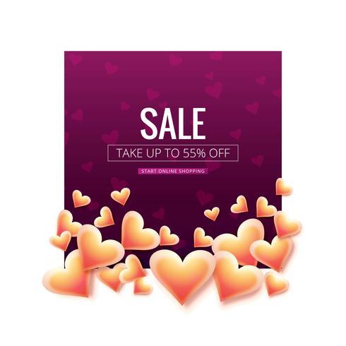 Valentines day colorful hearts sale background design illustrati
