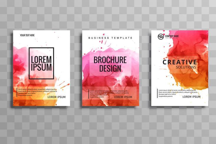 design de conjunto de brochura abstrata aquarela negócios