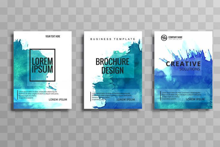 Conjunto de folleto de negocios acuarela moderna de diseño vectorial de tarjetas