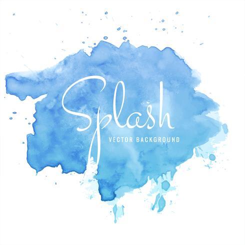 Vacker handfärg akvarell blå stänk på vit bakgrund