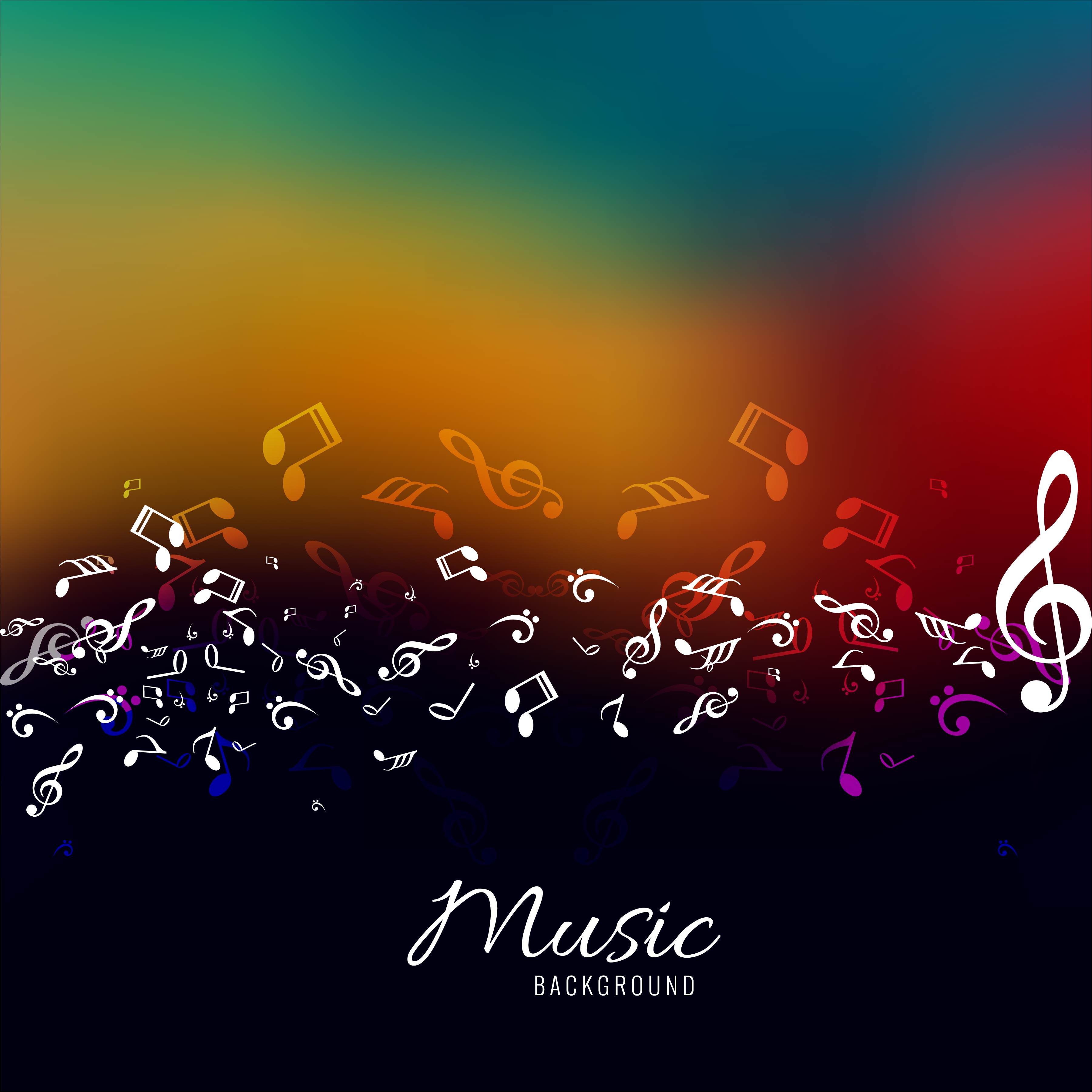 abstract music notes design for music colorful background ...
