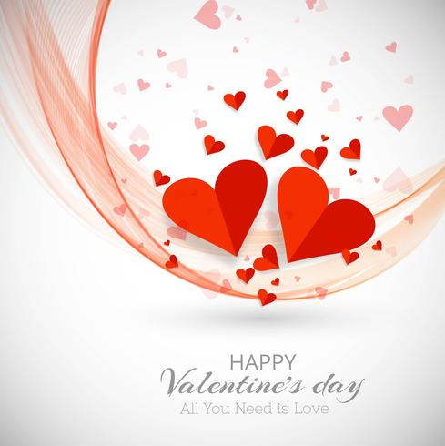 Glad valentinsdag hjärtan dekorativ bakgrund med våg