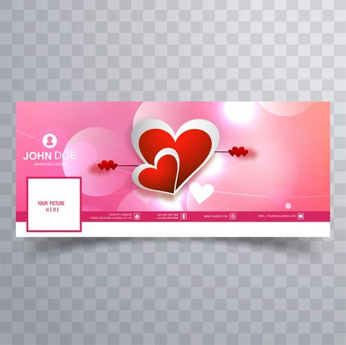 Abstract Valentine S Day Facebook Cover Design Illustration