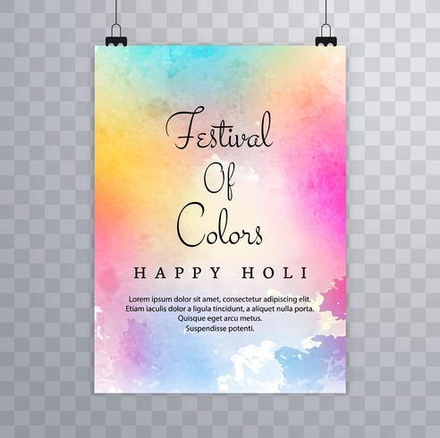Happy holi festival.holi brochure splash colorful watercolors ba