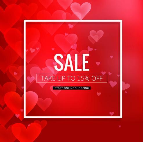 Vacker röd valentins dag försäljning bakgrund illustration