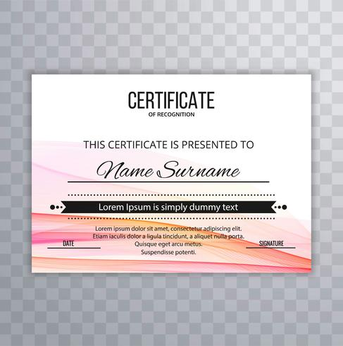 Zertifikat-Prämienschablone prämiert diplom bunte Welle illust