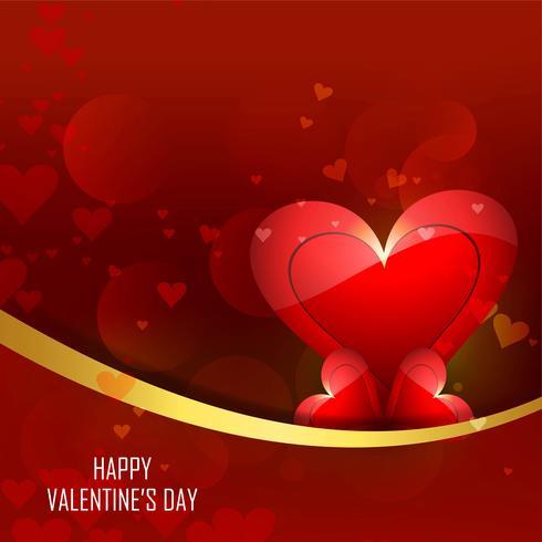 Valentins hjärta färgstark bakgrund med glänsande våg