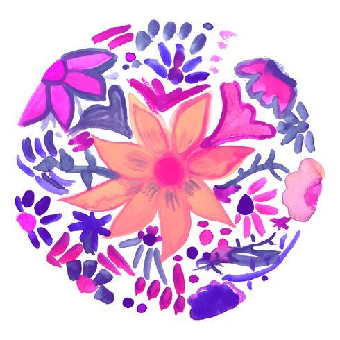 Abstrait décoratif floral aquarelle