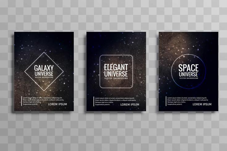 Conjunto de folletos de negocios coloridos estilizados galaxia abstracto