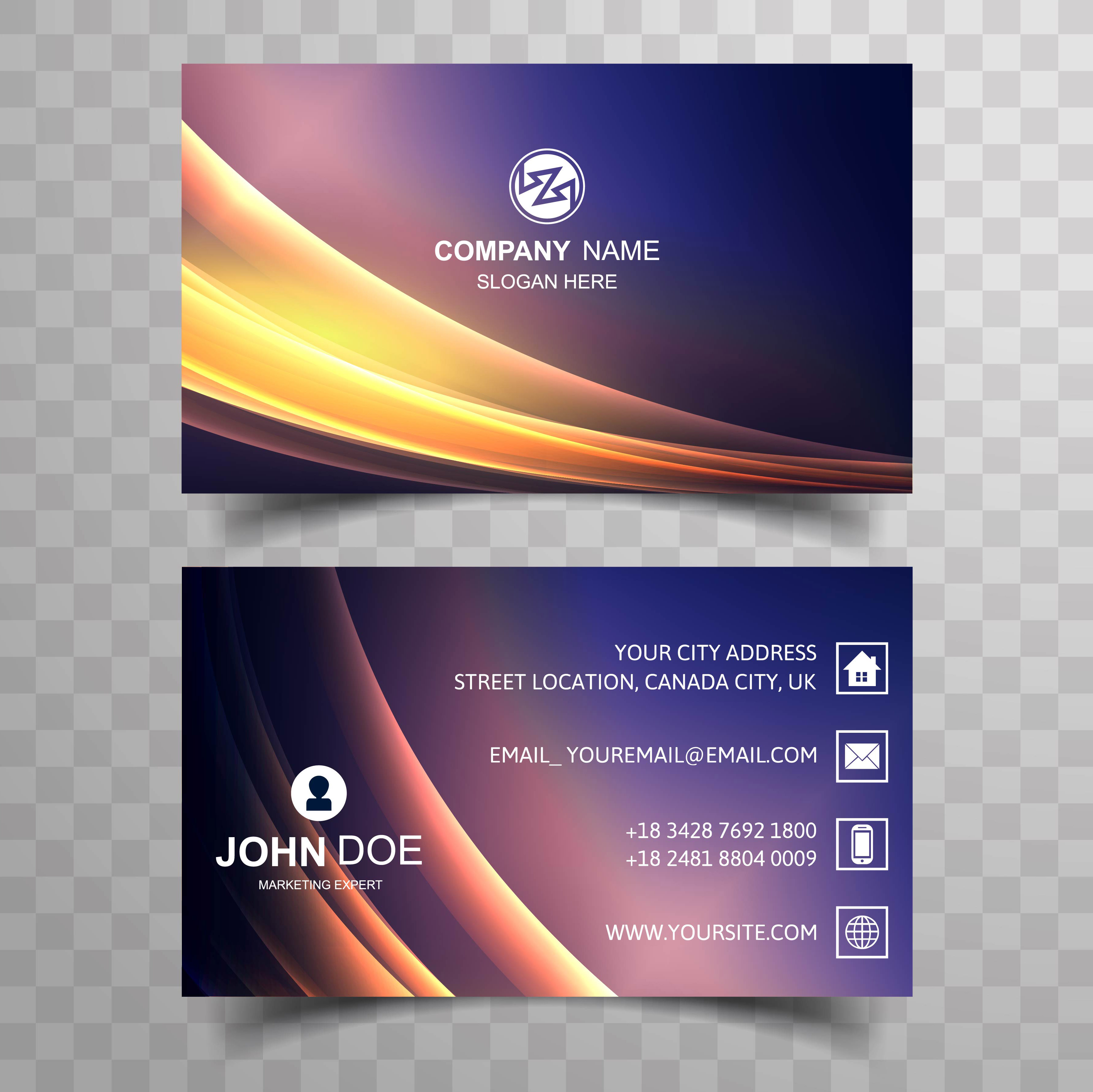 abstract business card colorful shiny wave background
