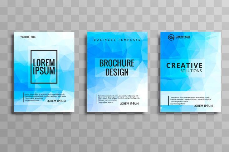 Abstrakt blå polygon broschyr uppsättning illustration vektor