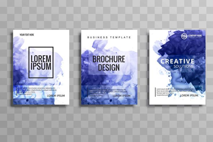 Modèle de set aquarelle abstraite brochure bleu. Flyer layout des