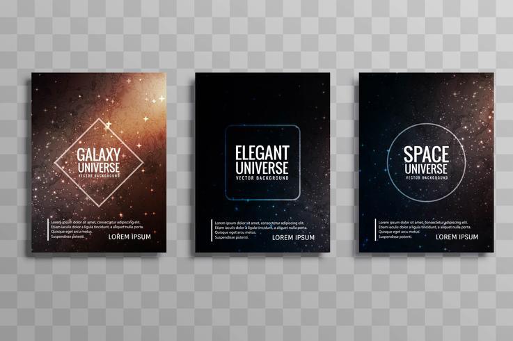 Vacker galax färgglada affärsbroschyr design set