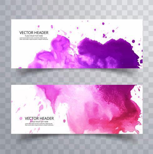moderna färgstarka vattenfärg banners set design