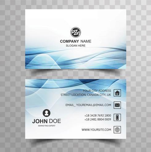 Conception de carte de visite sertie de modèle de vague bleue
