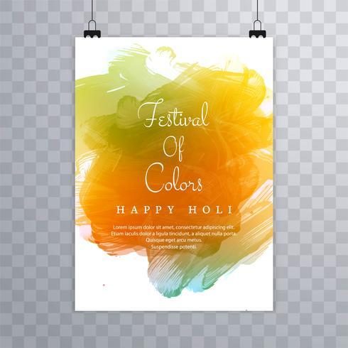Glad holi festival holi broschyr design vektor