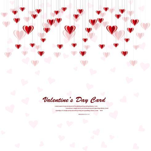 Feliz día de San Valentín corazones sobre un fondo blanco