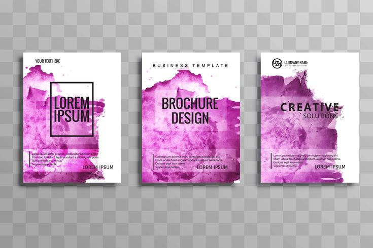 Modern watercolor business brochure set vector
