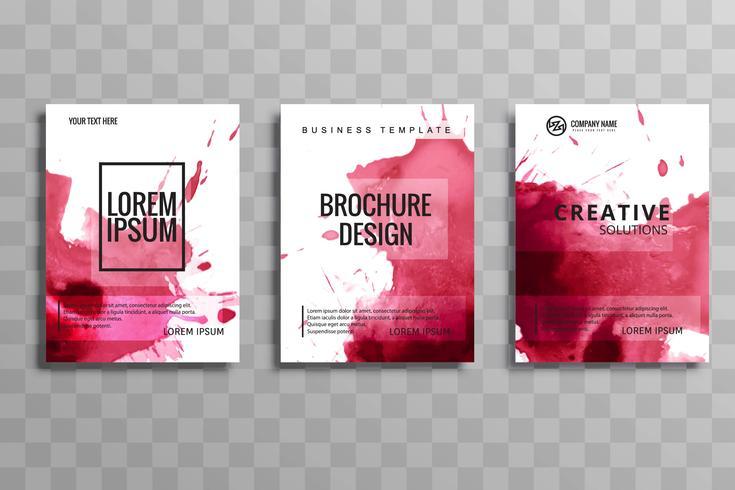 Abstrakt vektor broschyr vattenfärg uppsättning mall. Flyers layout d