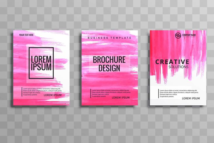 Abstract vector brochure watercolor set template