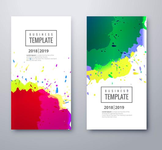 Abstract colorful watercolor business template set design