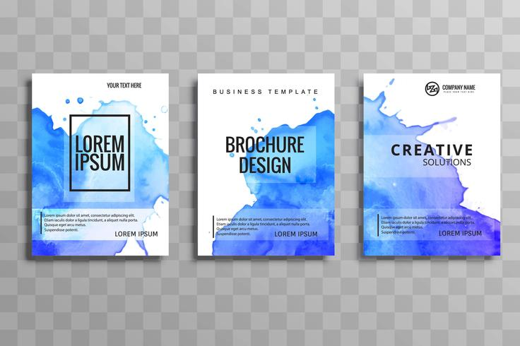 Abstract blue watercolor business brochure set