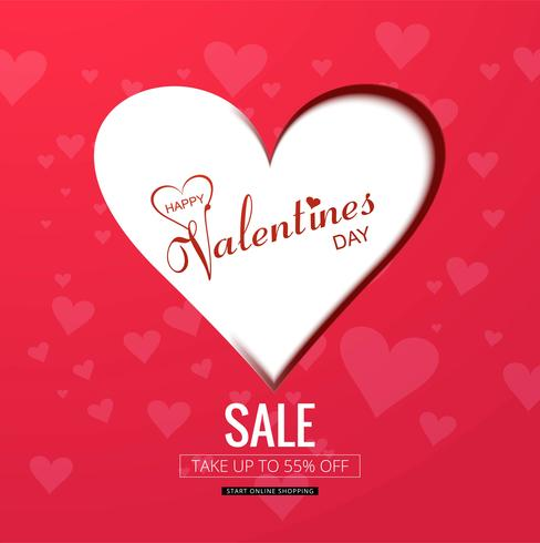 Feliz día de San Valentín ilustración de fondo de venta creativa