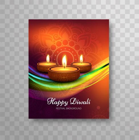 Conception moderne belle de coloré de brochure de diwali;