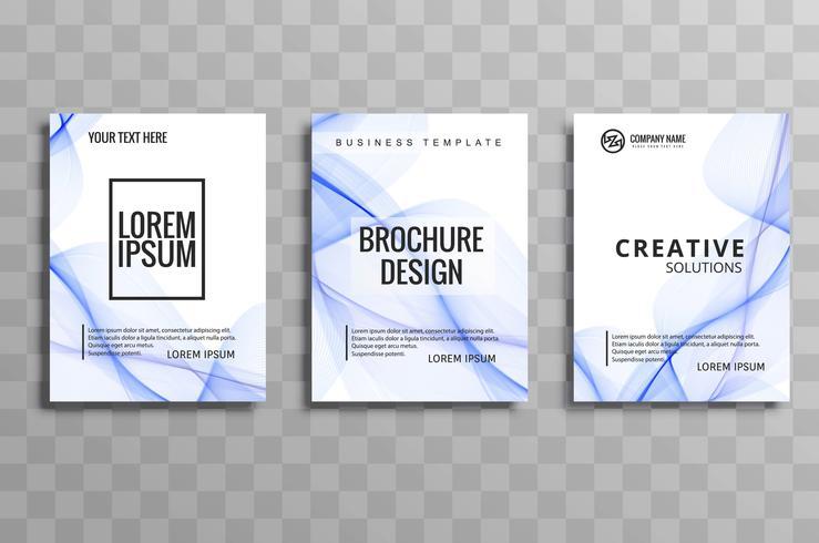 Abstrakt blåvåg affärs broschyr uppsättning