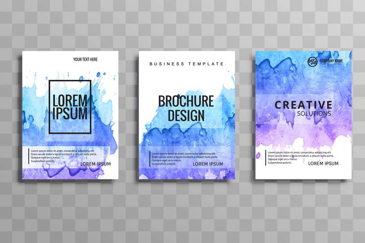 Abstract vector brochure colorful watercolor set template