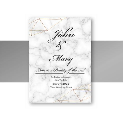 Wedding invitation card template with marble texture design