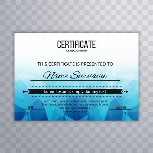 Zertifikat Premium Vorlage Auszeichnungen Diplom kreative blaue Polygo