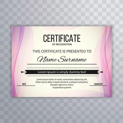 Zertifikat Premium Vorlage Auszeichnungen Diplom kreative Welle illust