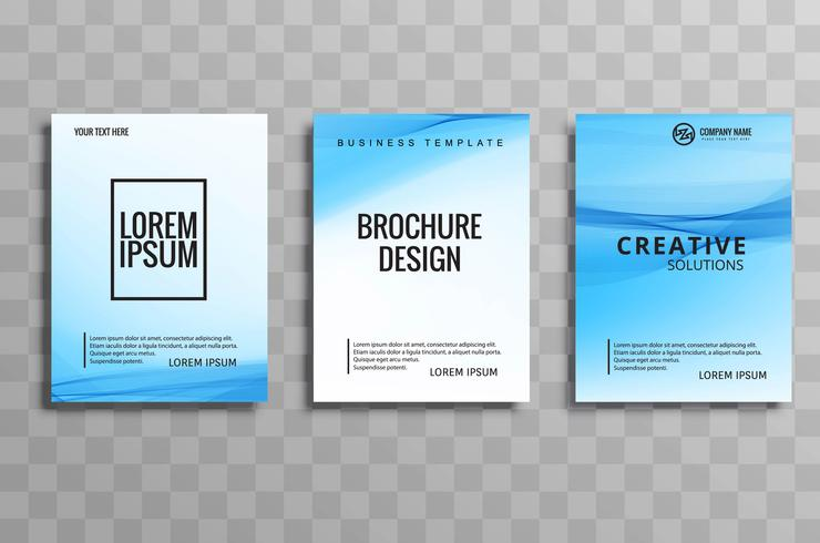 Abstract wavy blue business brochure set illustration