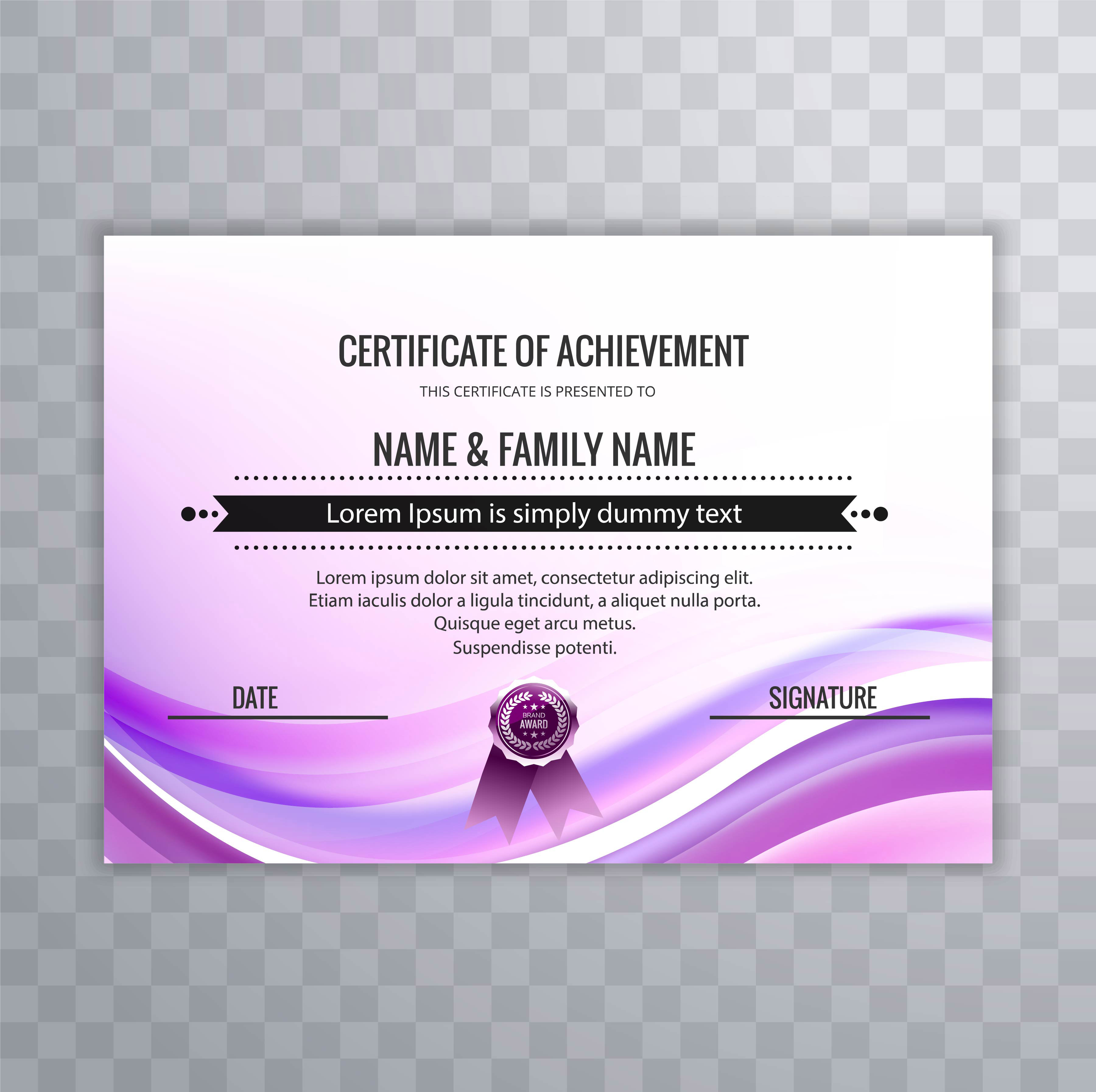 Abstract colorful wave design template certificate ...