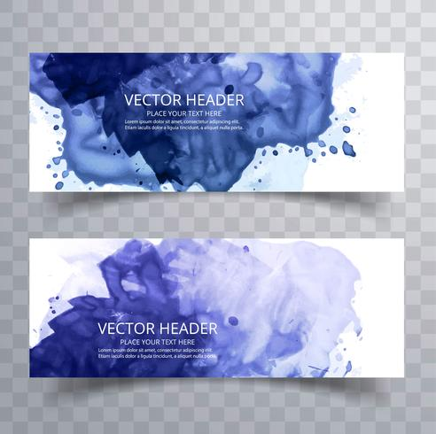 modern blue watercolor splash banners set design