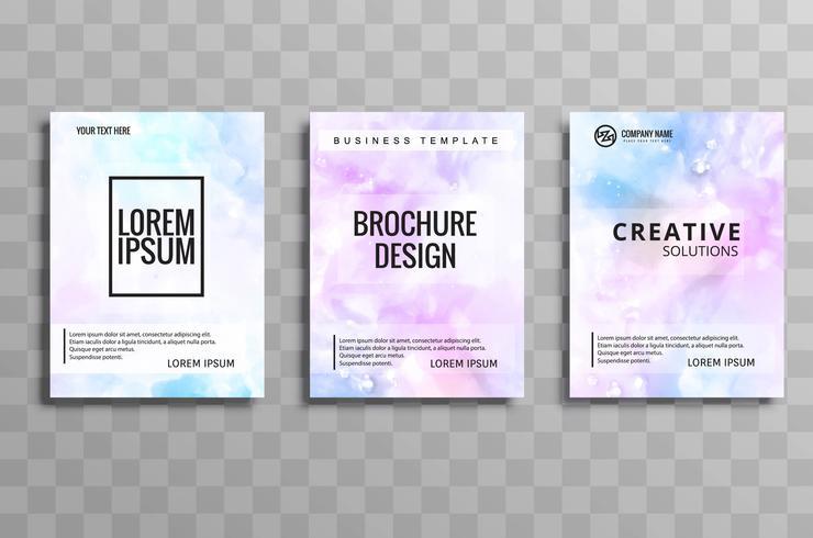 Hermosa acuarela empresarial folleto colorido conjunto de tarjetas vec
