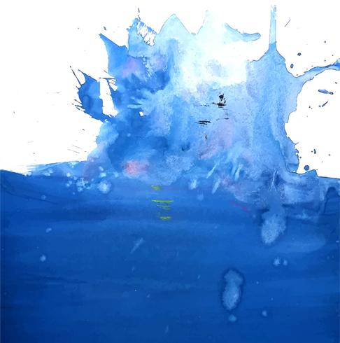 Abstract blue splash watercolor on white background