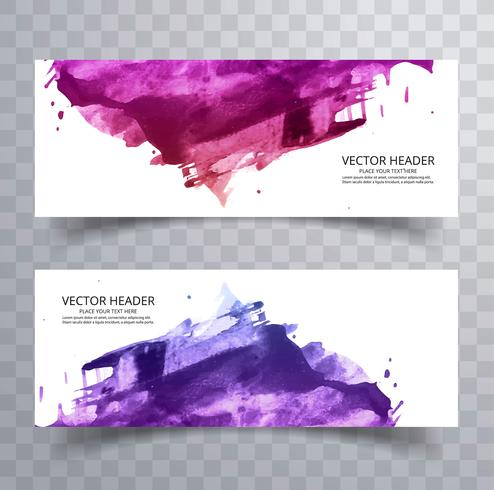Beautiful abstract paint brush colorful watercolor header set ve