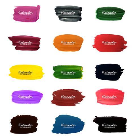modern watercolor strokes set