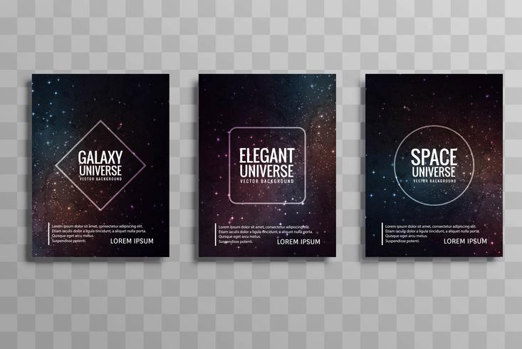 Beautiful galaxy colorful business brochure design set
