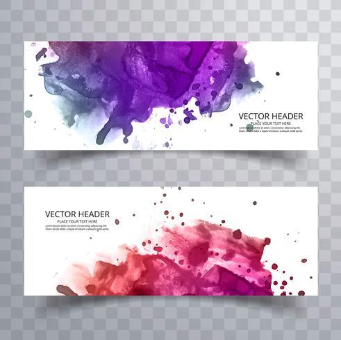Ensemble de vecteur de conception de bannières aquarelle colorée