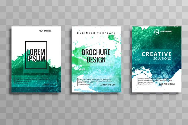 Abstract colorful watercolor business brochure set design
