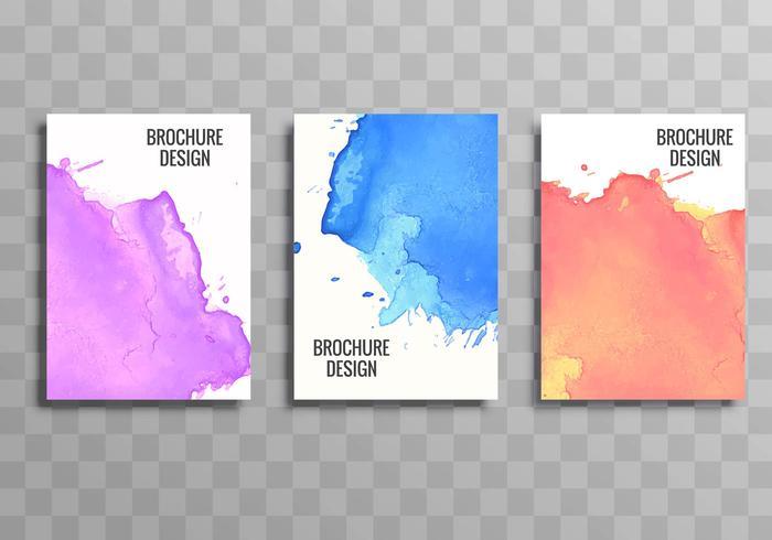 Folleto de negocios colorido elegante conjunto diseño acuarela vector