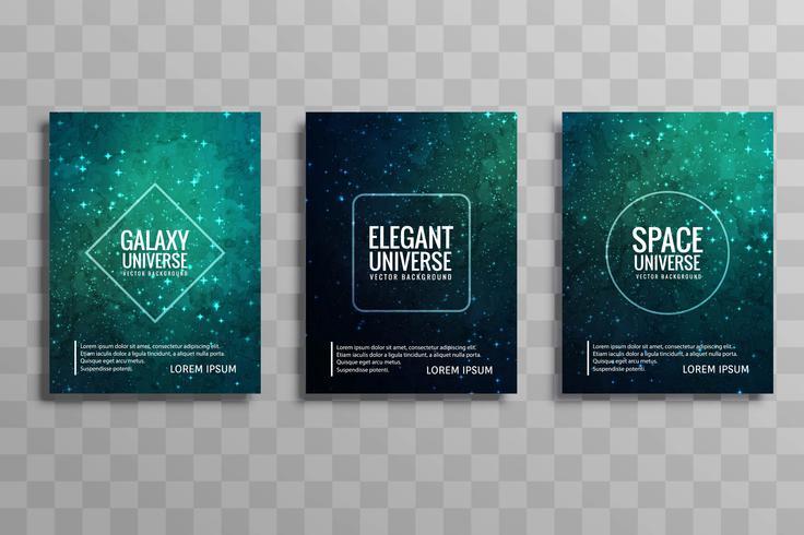 Abstracte kleurrijke galaxy stylie zakelijke brochure set vector