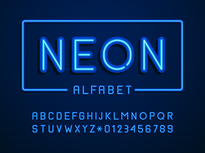Neon Alphabet Letters And Numbers Vector