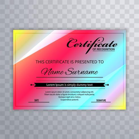 Elegant certifikatmall färgstark design