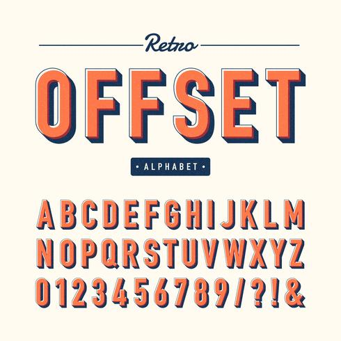 Retro Offset Alfabet Vector Set