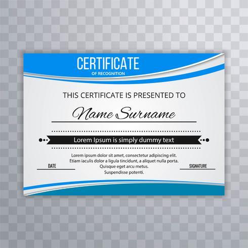 Brevet Certificat Premium avec diplôme de vague avec illustrati vague