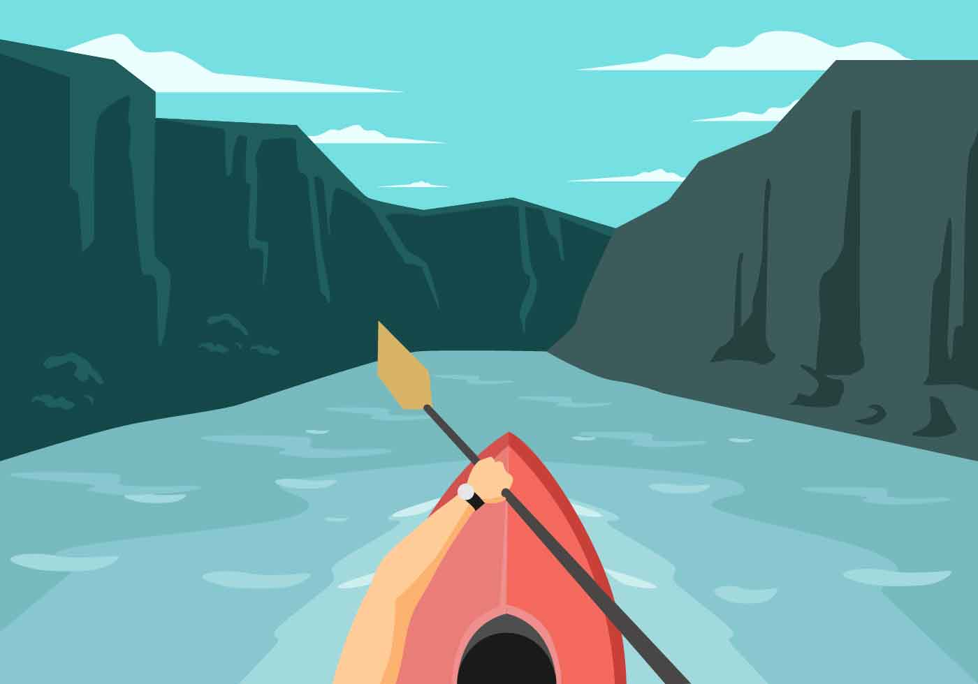 Kayaking First Person View Vector Illustration - Download ...